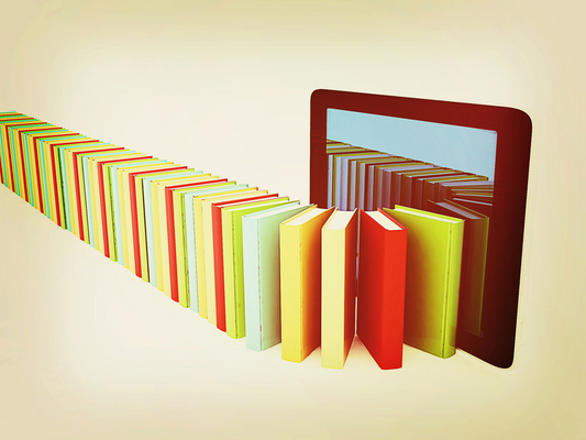 tablet pc and colorful real books. 3D illustration. Vintage styl